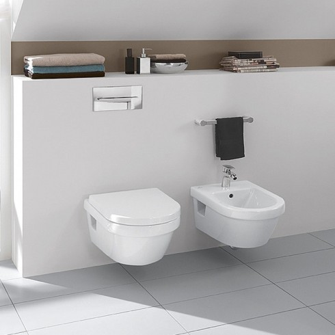 Set vas WC suspendat rotund, direct flush, cu capac soft close, alb, Architectura